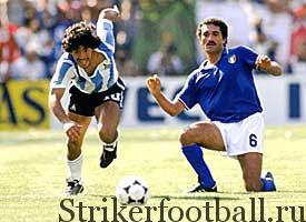 На краткий миг Марадона ускользает от Джентиле, но вскоре защитник возьмет верх и «задушит» гениального плеймейкера.